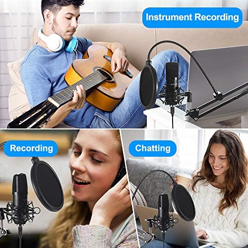 USB Streaming Podcast PC Microphone,Professional Computer Mic 192kHz/24bit Studio Cardioid Condenser Mic Kit with Sound Card Boom Arm Shock Mount Pop Filter, for Skype (Black)
