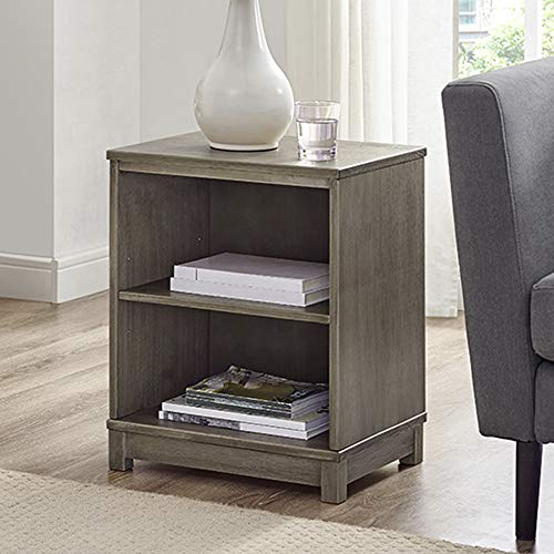 Desk End Bookcase - Classic Brands Sam & Jack Two Shelf Solid Wood Bookcase/End Table, Weathered Grey