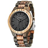 Men Wood Watch Quartz, BYMAX Fashion Handmade Gift Analog Wrist Watches Round Zebra BLACK
