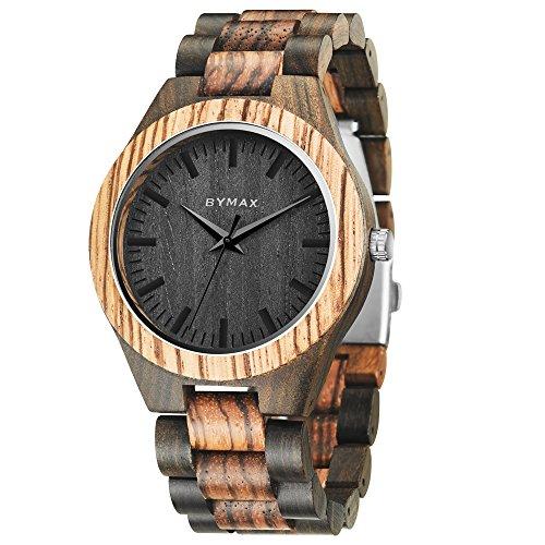 Men Wood Watch Quartz, BYMAX Fashion Handmade Gift Analog Wrist Watches Round Zebra - Mens Wood