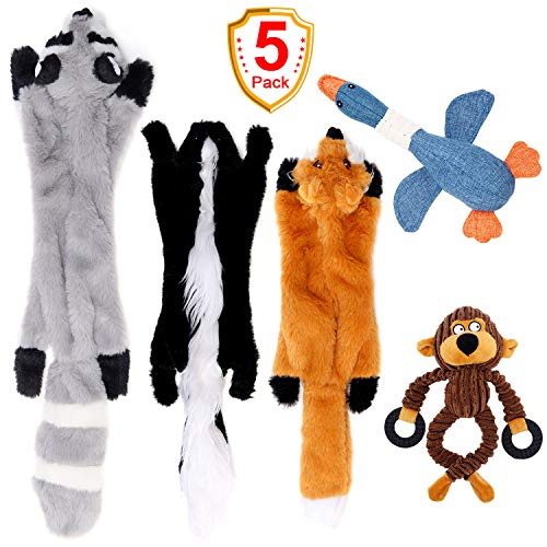 (SHARLOVY Stuffingless Dog Toys, No Stuffing Dog Toys of Raccoon Fox and Skunk, Plush Squeaky Toys for Large Medium Small Dogs, Plush Animal Chew Dog Toys 5 Pack)