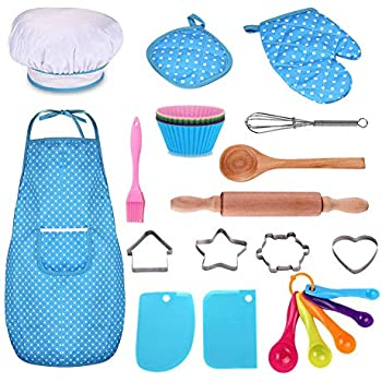 Kids Cooking and Baking Set - 25Pcs Kids Chef Role Play Includes Apron for Little Boys & Girls, Chef Hat, Utensils, Cake Cutter, Silicone Cupcake Moulds for Ages 3+ Little Kids Gift - Blue