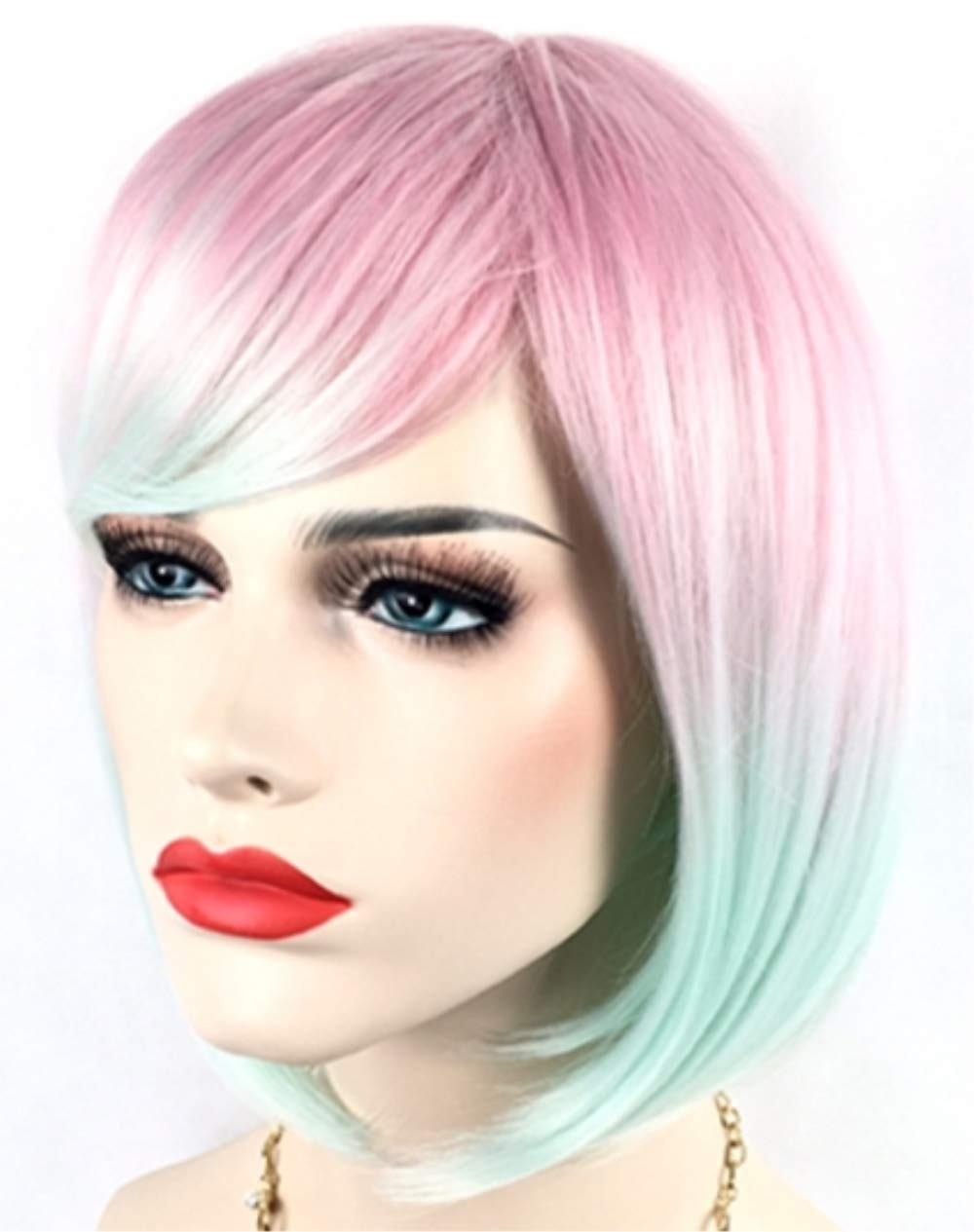 Amazon.com: Cute Sexy Multi-colored Bob Wig Short Hair & 1 Wig Cap for  Kawaii Anime Cosplay Costume Accessories, for Halloween Christmas Birthday  Theme Party; WIG7D: Beauty