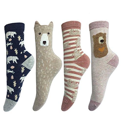 LOTUYACY Cute animal designe Women's Casual Comfortable Cotton Crew Socks - 4 Pack (Bear 2)