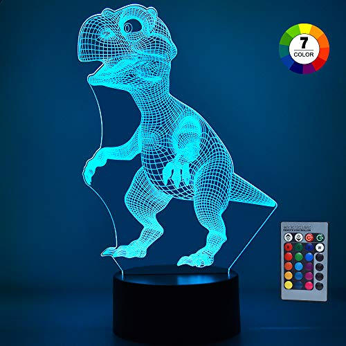 KITY Best Gift Dinosaur Night Light for 3 to 12 Year Old Boys, Toys Dinosaur Night Light 7 Colors Changing with Remote Control for Kids Best Birthday Gift for Boys Tyrannosaurus COUSKLTY03