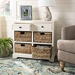 Add a stylish touch to your home with the Safavieh American Home Collection Newburgh Distressed Cream 6 Drawer Storage Unit. This modern table features a contemporary style and functional design. Constructed with a sturdy wood frame, the Newb...