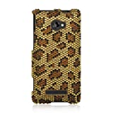 VMG For HTC Windows Phone 8X (AT&T, T-Mobile, Verizon Only) Gem Bling Design Faceplate Hard Case Cover - Gold Brown Leopard