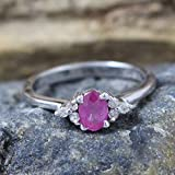 925 Sterling Silver Ruby, Diamond Engagement Ring