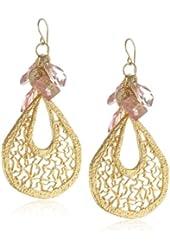 Devon Leigh Pink Hydro Quartz Cluster Gold Dipped Filigree Earrings