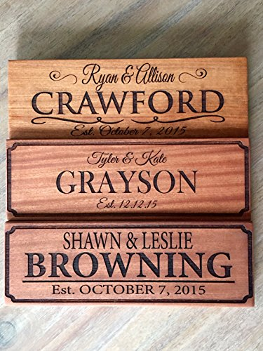 Qualtry Personalized by Family Name Custom Wood Signs 5x15 - Personalized Wedding Gifts Wooden Sign (Mahogany Wood, Browning Design)