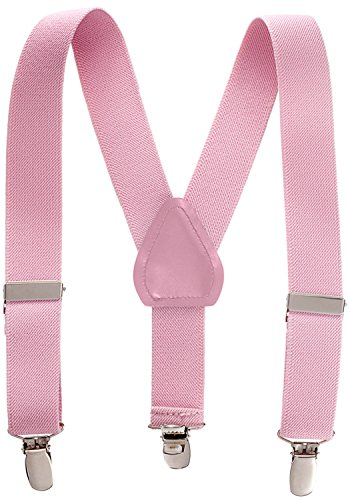 Suspenders for Kids - 1 Inch Suspender Perfect for Tuxedo - Light Pink (22