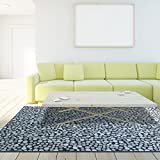iCustomRug Allison Modern Low Pile Area Rug 7ft8in x 10ft0in (8' x 10') Colorful and Soft Dual Textured Viscose In Blue