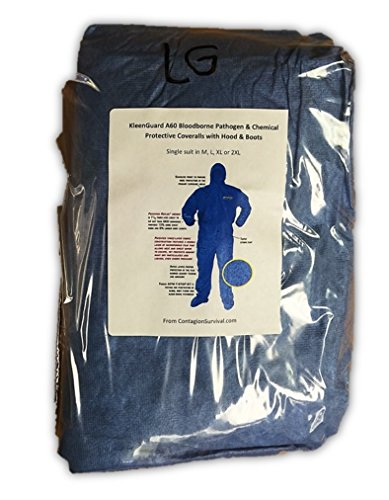 Kleenguard A60 Bloodborne Pathogen & Chemical Protective Coverall Suit w/ Hood & Boots - M, L, XL, 2XL (Large)