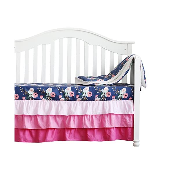 3 pcs set Boho Floral Ruffle Baby Minky Blanket Water color, Peach Floral Nursery Crib Skirt Set Baby Girl Crib Bedding (Navy Blue)