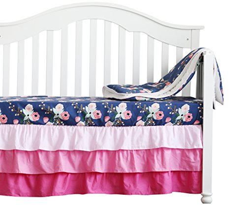 3 pcs set Boho Floral Ruffle Baby Minky Blanket Water color, Peach Floral Nursery Crib Skirt Set Baby Girl Crib Bedding (Navy - Navy Floral Blanket Blue