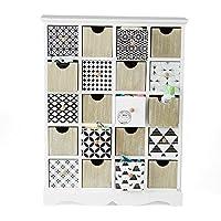 Mind Reader 20 Drawer Wood Storage Organizer Chest Compartments, White
