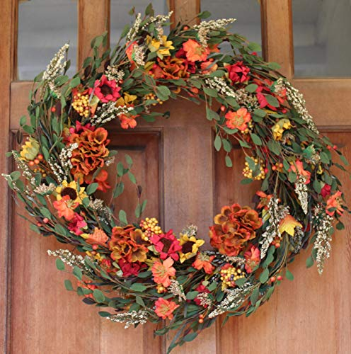 Nashua Blossom Fall Front Door Wreath 22 Inches - Lush and Beautiful Autumn Colors, Approved for Covered Outdoor Use, Beautiful White Gift Box Included -