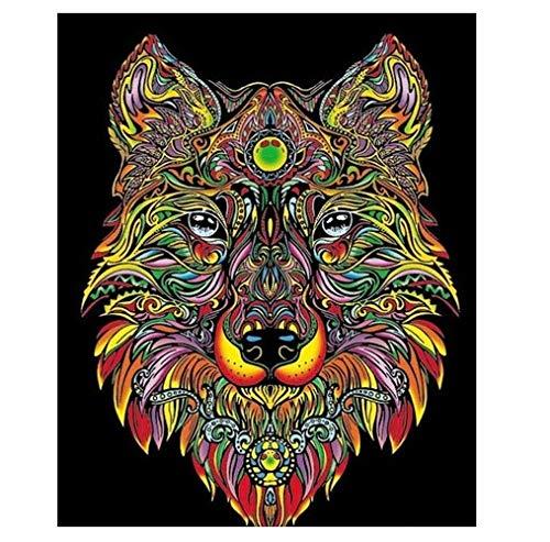 Terciopelo Color de 47 x 35 cm Lobo Dibujo Sistema de Coloración (Grande: Amazon.es: Juguetes y juegos