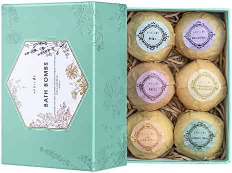 Bath Bombs Gift Set, Ultra Large Bath Bomb Kit, Lush Spa Floating Fizzies, Best Gift Ideas for Kids, Women, Must-have Bath Products, Add to Bubble Bath, Bath Salts – Pack of 6