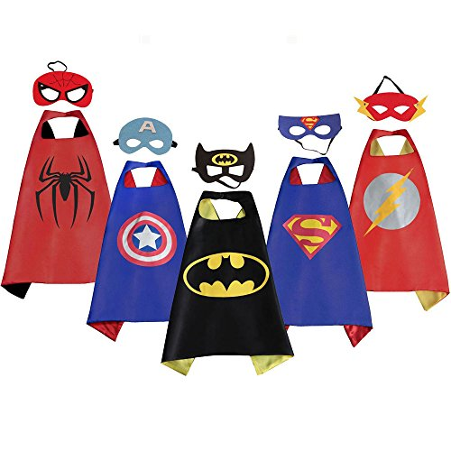 5Pk DC Superhero Costume, Justice League Kid Capes, Marvel Comic Capes and Masks