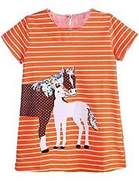Toddler Girls Tunic Short Sleeve Dress Summer Casual Cotton T-Shirt Dresses
