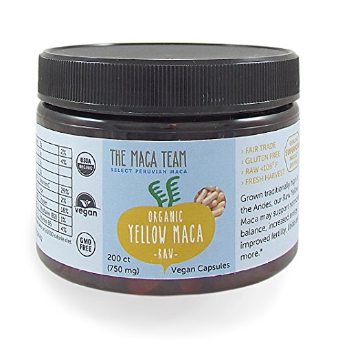 The Maca Team Organic Raw Maca Capsules, Fresh, Fair-Trade and GMO-Free Maca Powder Capsules, 750 MG, 200-Count