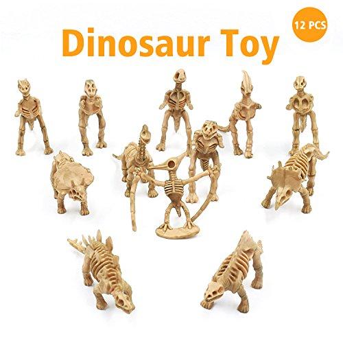 Dinosaur Fossil Toy Assorted Skeleton Figures Toys 12 Pcs for Kids Boys Girls Party Play Time (Dinosaur Skeleton Toys)