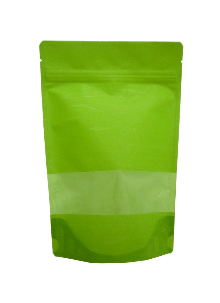 8 oz. Green Rice Paper Stand Up Zip Pouch w/ Window (Coffee Packaging, Tea Packaging, Jerky Packaging)