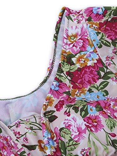 GOZAR Las Mujeres Más Talla Floral Impresa De Dos Piezas De Traje De Baño Volantes Mangas De Traje De Baño-3XL