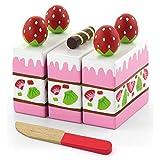 Viga Wooden Strawberry Cake - Childrens Pretend Play Food Kitchen Toy