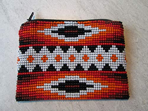 white orange red black aztec hand beaded glass seed beads Fair trade Guatemalan handmade southwest design native american geometric pattern zippered coin purse credit card holder pouch bag