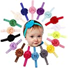 Qandsweet Baby Girl's Headbands with Shabby Model Flower