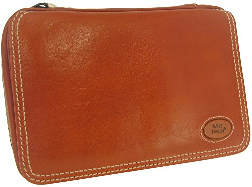 Martin Wess Germany ''Country'' Brown Nappa Leather Vintage Look 4 Pipe Bag Case by Martin Wess