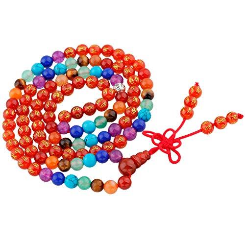 7 Chakra Carnelian Six True Word Mantra Buddhist Prayer Beads Elastic Bracelets & Necklaces