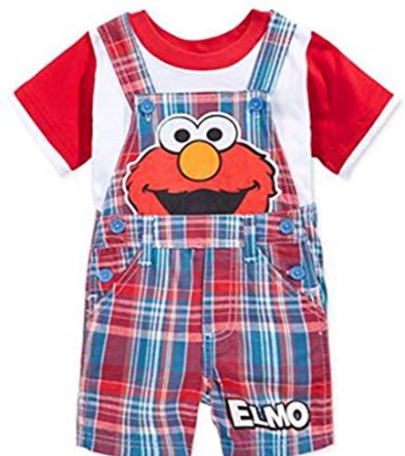 Sesame Street Elmo Little Infant Boys' 2 Piece Denim Plaid Elmo Shortall Set (24 Months)