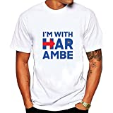 I'm With Harambe Hillary follow me Graphic Tee Men's Short Sleeve T-Shirt White