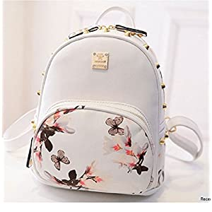 SP-CHARMING Fashion Causal High Quality Floral Printing PU Leather Backpacks (White2)