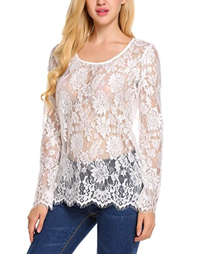 - Zeagoo Womens Plus Size Club Long Sleeve Sheer Lace Blouse Top White XXX-Large