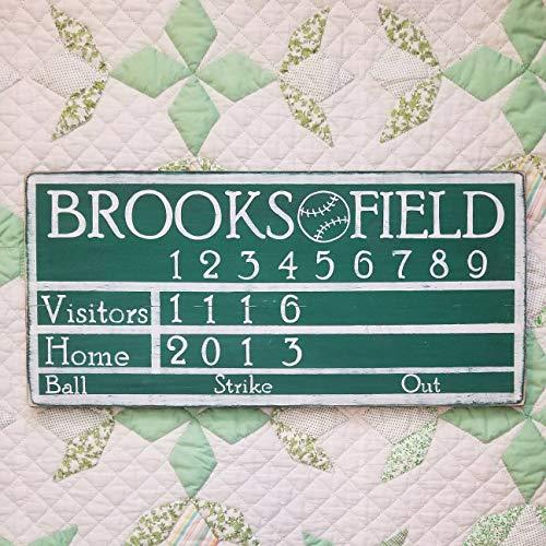 (Personalized Baseball Scoreboard Sign Man Cave Custom Baseball Sign Boys Room Playroom Nursery Sign Vintage Sports Decor Gift for Him)