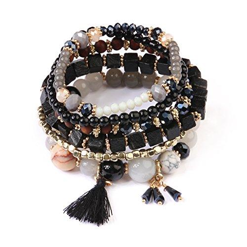 Multi Strand Bead Layering Statement Bracelets - Colorful Beaded Stretch Bangles, Leaf Charm (Wood Bead/Tassel - Black)