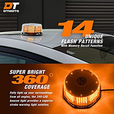 DT MOTO Amber LED Flashing Strobe Beacon Light - Waterproof Magnetic Roof Top Mount Emergency Warning Lights for Forklift Vehicles Trucks Golf Cart Tractors Cars: Automotive