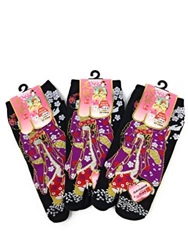 Maiko Girl - Nagomi 3 Pack MAIKO Girl and Puppy Dog Japanese Split Toe Tabi Socks Womens Sz 6-8, Black