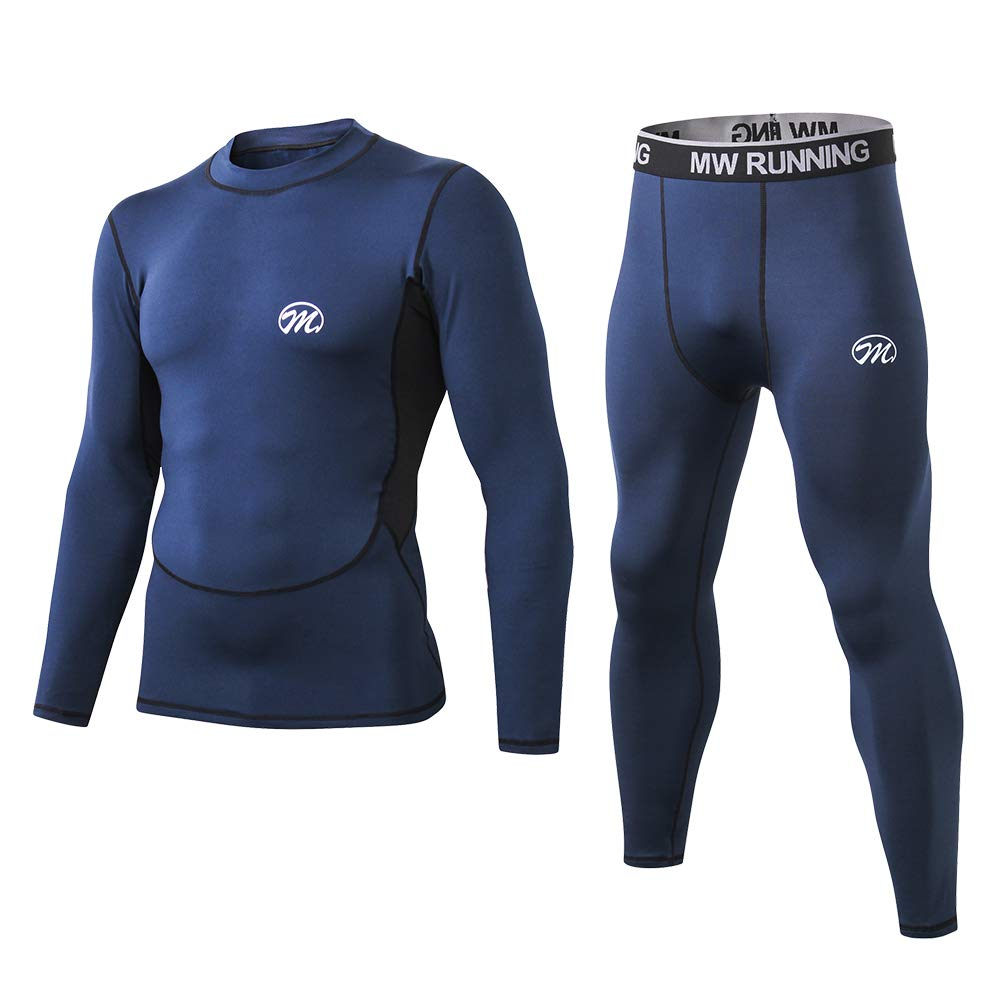 MeetHoo Men's Thermal Underwear Set, Compression Base Layer Sports Long Johns Fleece Lined Winter Gear Running Skiing Blue by MeetHoo