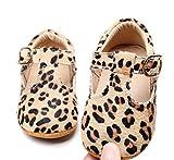 HONGTEYA Leather Leopard Baby Shoes Hard Sole T-Strap Boys Girls Moccasins for Infants Babies Toddlers (0-6 Months/ 3.5 M US Infant, Leopard5)