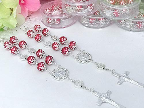 (24 Red Color Baptism Favors Silver Plated Bracelets or Rear View mirror Charms/Christening Favors/Communion Favors/Recuerdos De Bautizo color Rojo Para Brazalete o collared del retrovisor)