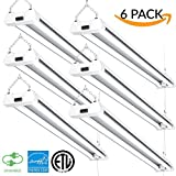 Sunco Lighting 6 PACK - ENERGY STAR, ETL - 4ft 40W LED Utility Shop Light, 4000lm 120W Equivalent, Double Integrated LED Fixture, Ceiling Light, Garage, Frosted (5000K - Daylight) ...