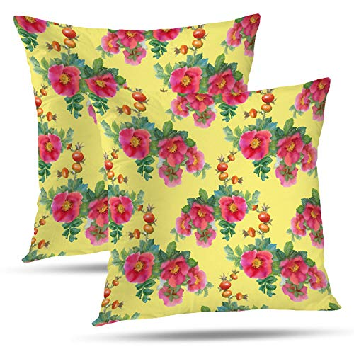 Batmerry Spring Pillows Decorative Throw Pillow Covers 18x18 Inch Set of 2, Colorful Abstract Watercolor Flowers and Briars On Yellow Double Sided Square Pillow Cases Pillowcase Sofa Cushion ()