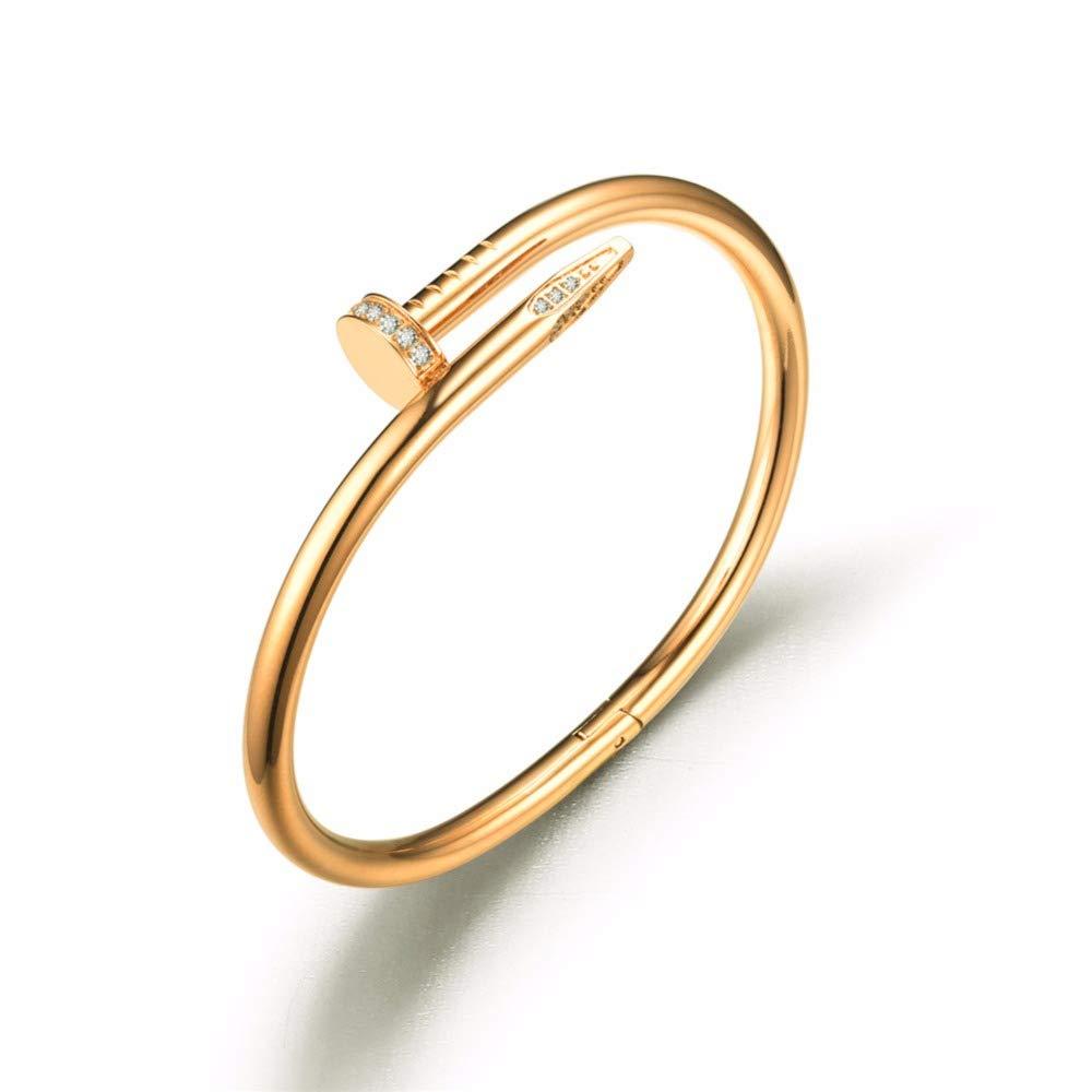 Fsacai Titanium Steel Bangle Women's Fashion Classic Lovely Brilliance Bracelet - Gifts Women Bracelet (Gold)
