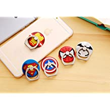 ZOEAST(TM) Super Marvel Hero Ring Universal 360° Rotating Phone Buckle Tablet Finger Grip Ring Stand Holder Kickstand Tablets iPhone 4 4S 5 5S 6 6S SE 7 Plus Samsung iPad iPod (5pcs with 5 Heros)