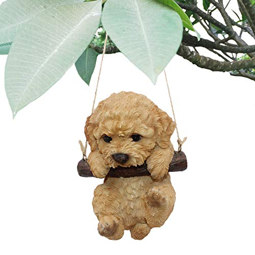CITONG Cute Dog Statue Yards Decoration, Hanging Swing Puppy Sculpture, Orange (Statue Decoration)